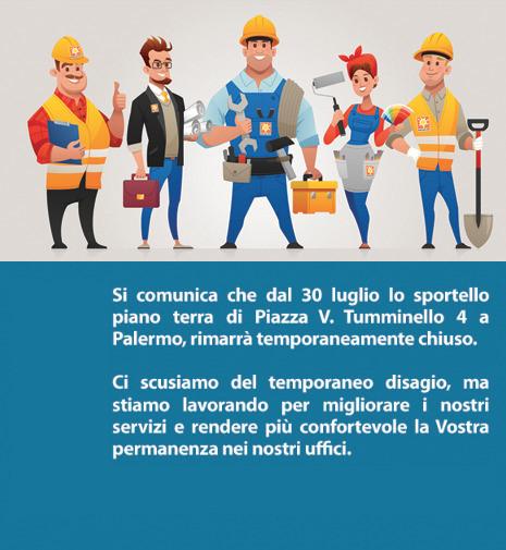 Chiusura per lavori sportello Piazza Tumminello